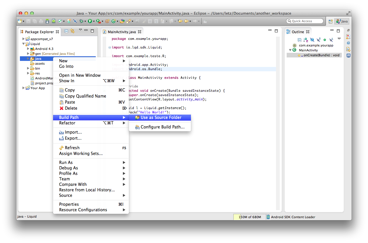 Add java folder to build path