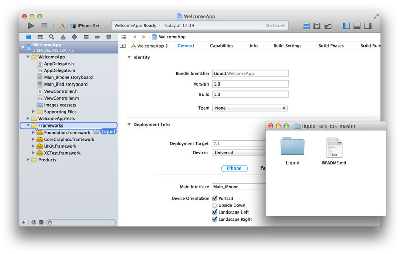 Drag Liquid folder to your Xcode project