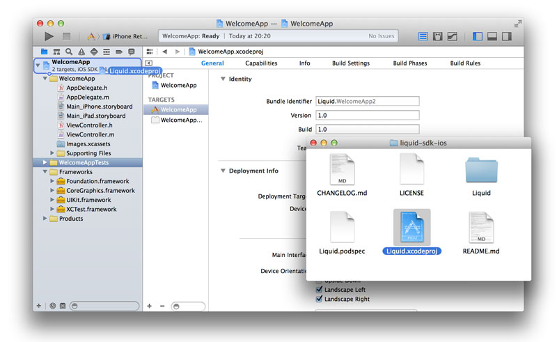 Drag Liquid.xcodeproj to your Xcode project
